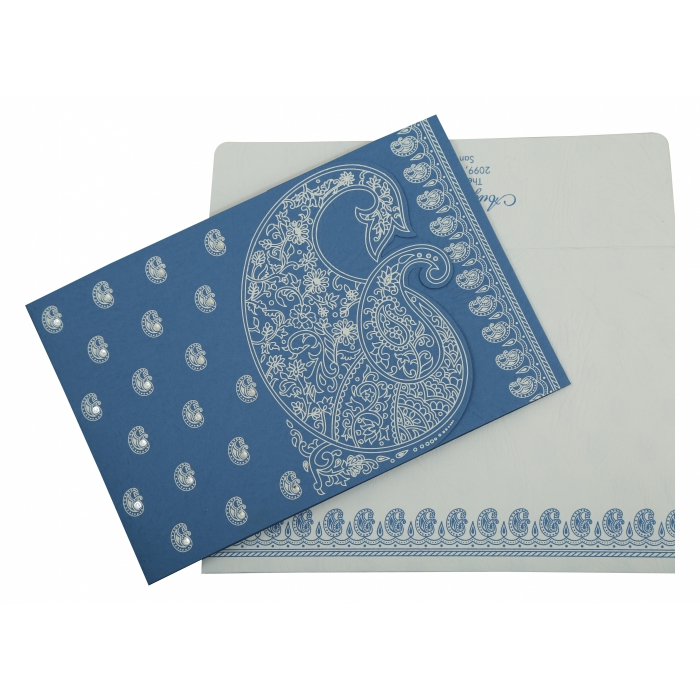 Blue Matte Paisley Themed - Screen Printed Wedding Invitation : AI-807D - A2zWeddingCards