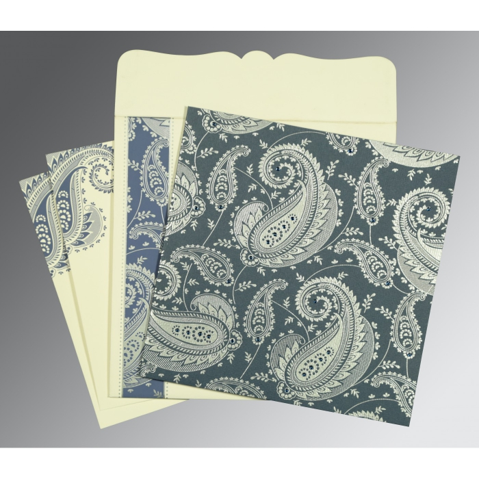 Blue Matte Paisley Themed - Screen Printed Wedding Card : ARU-8250E - A2zWeddingCards