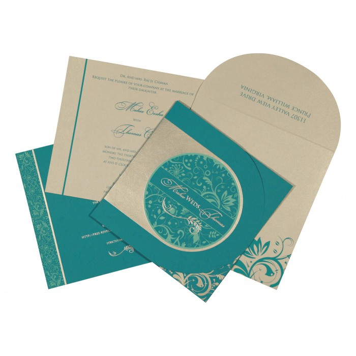STRONG CYAN MATTE FLORAL THEMED - SCREEN PRINTED WEDDING CARD : ARU-8264G - A2zWeddingCards