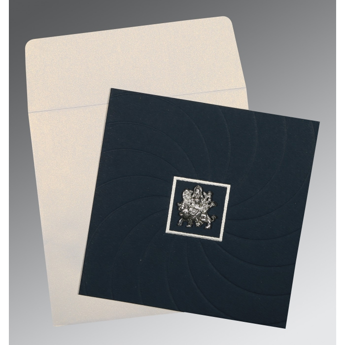 PRUSSIAN BLUE MATTE POCKET THEMED - EMBOSSED WEDDING CARD : AG-1436 - A2zWeddingCards