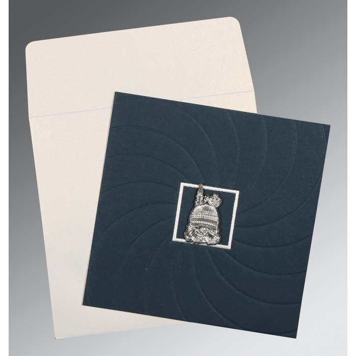 Blue Matte Pocket Themed - Embossed Wedding Card : AI-1436 - A2zWeddingCards