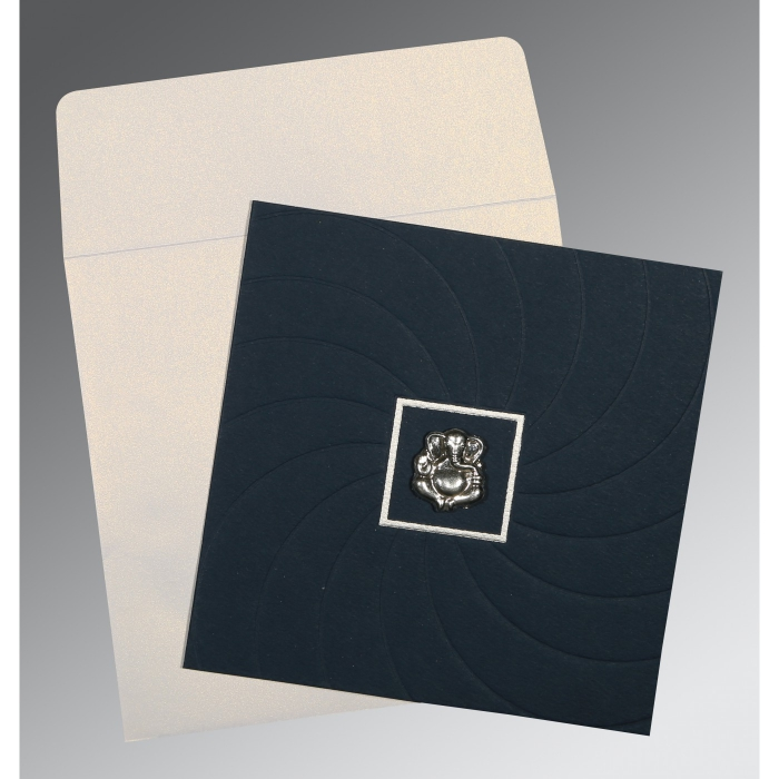 PRUSSIAN BLUE MATTE POCKET THEMED - EMBOSSED WEDDING CARD : AIN-1436 - A2zWeddingCards