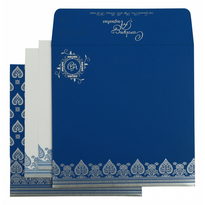 Blue Matte Screen Printed Wedding Invitation : AI-809D - A2zWeddingCards