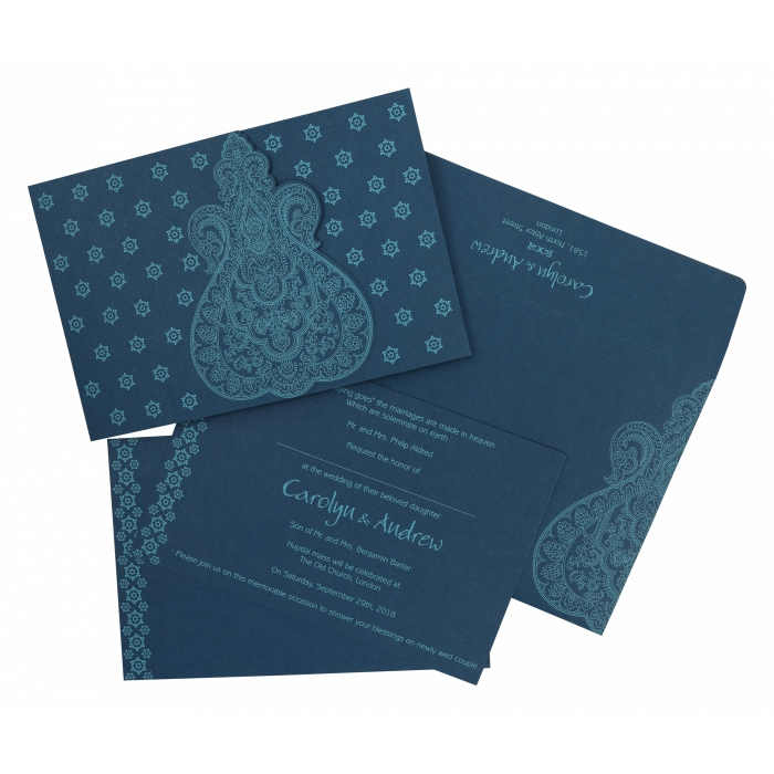 TEAL BLUE SCREEN PRINTED WEDDING INVITATION : AIN-801E - A2zWeddingCards