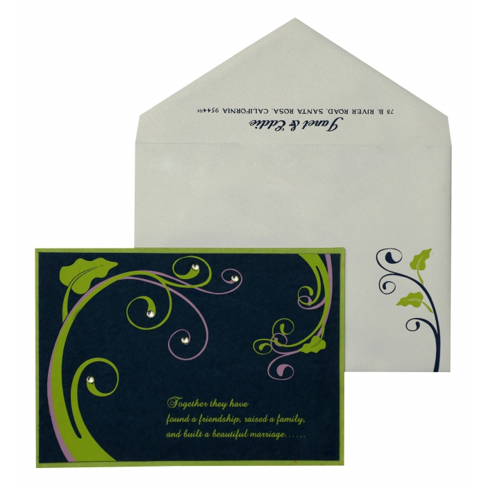 Blue Parrot Green Handmade Silk Floral Themed - Screen Printed Wedding Invitation : APY-883