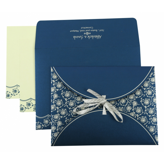 BLUE SHIMMERY BUTTERFLY THEMED - SCREEN PRINTED WEDDING INVITATION : AD-821E - A2zWeddingCards