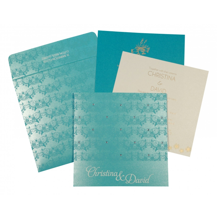 TURQUOISE SHIMMERY BUTTERFLY THEMED - SCREEN PRINTED WEDDING CARD : AIN-8258D - A2zWeddingCards