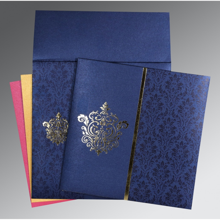 Blue Shimmery Damask Themed - Foil Stamped Wedding Card : AW-1503