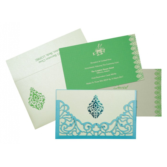 CYAN BLUE SHIMMERY DAMASK THEMED - LASER CUT WEDDING CARD : AG-8262A - A2zWeddingCards
