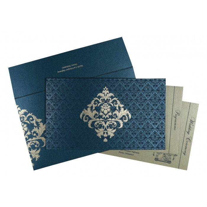 DARK BLUE SHIMMERY DAMASK THEMED - SCREEN PRINTED WEDDING CARD : AG-8257G - A2zWeddingCards