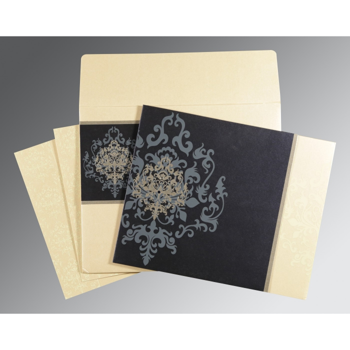 IVORY BLUE SHIMMERY DAMASK THEMED - SCREEN PRINTED WEDDING CARD : ARU-8253D - A2zWeddingCards