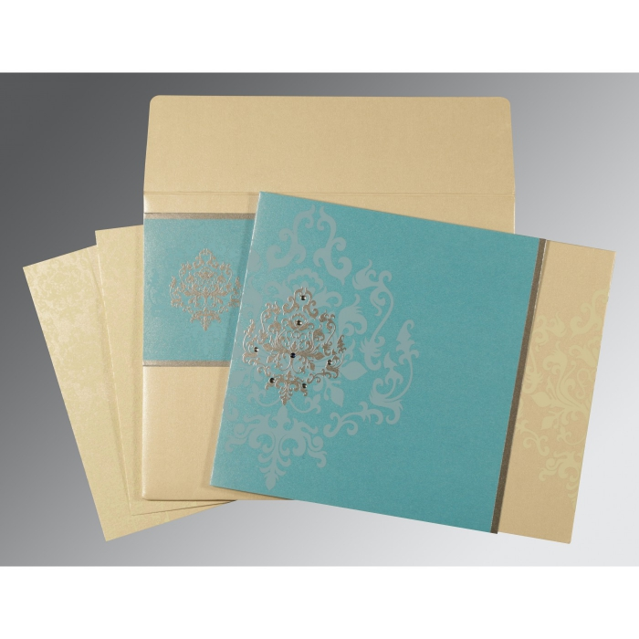 IVORY TURQUOISE SHIMMERY DAMASK THEMED - SCREEN PRINTED WEDDING CARD : ARU-8253E - A2zWeddingCards