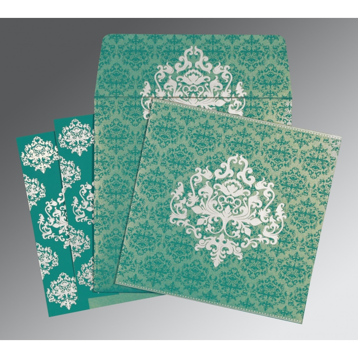 TURQUOISE SHIMMERY DAMASK THEMED - SCREEN PRINTED WEDDING CARD : ARU-8254E - A2zWeddingCards