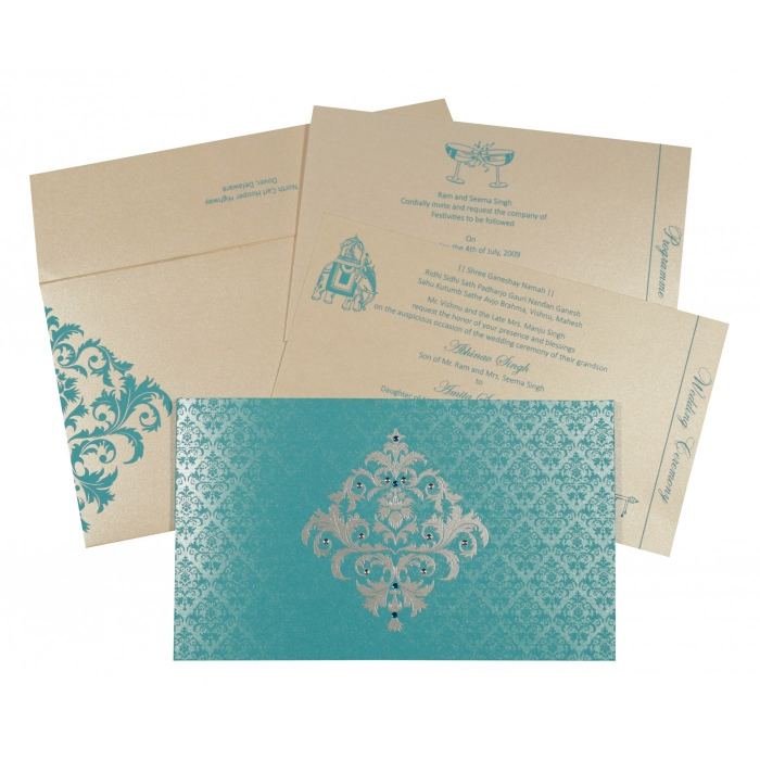 TURQUOISE SHIMMERY DAMASK THEMED - SCREEN PRINTED WEDDING CARD : ARU-8257E - A2zWeddingCards