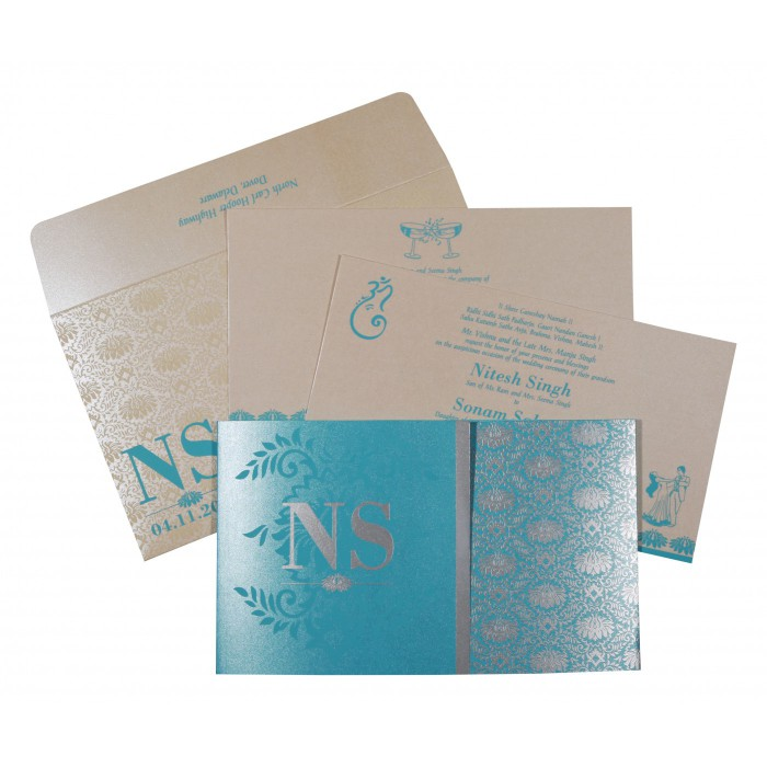 TURQUOISE SHIMMERY DAMASK THEMED - SCREEN PRINTED WEDDING INVITATION : ASO-8261E - A2zWeddingCards