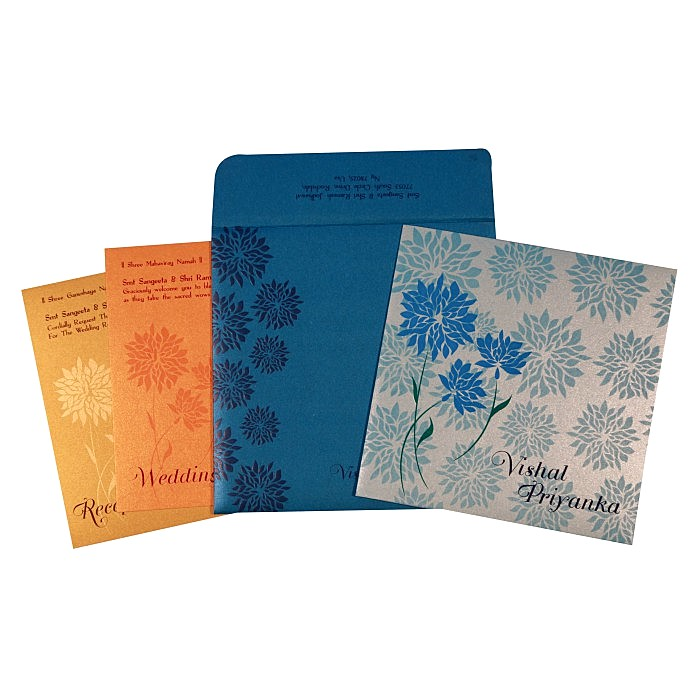 Blue Shimmery Floral Themed - Embossed Wedding Card : AC-1760 - A2zWeddingCards