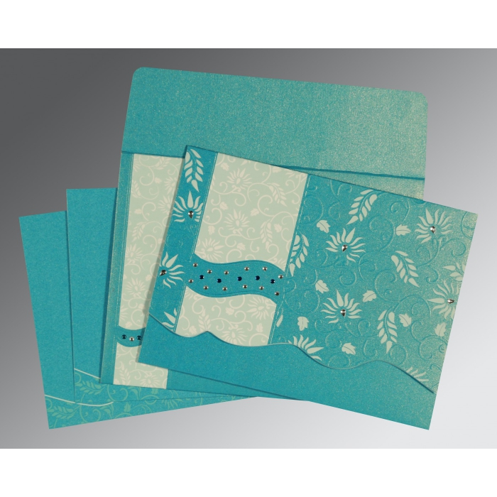 TURQUOISE SHIMMERY FLORAL THEMED - EMBOSSED WEDDING INVITATION : AG-8236J - A2zWeddingCards