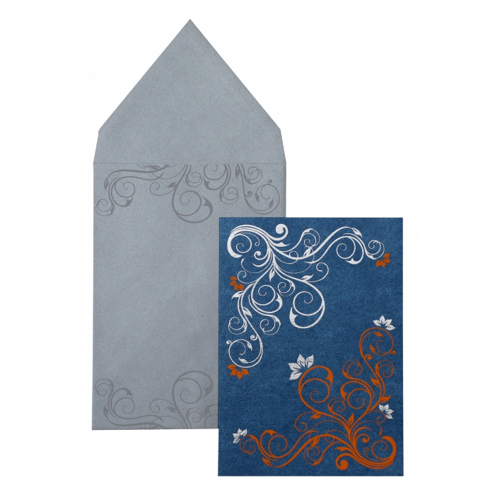 Blue Shimmery Floral Themed - Foil Stamped Wedding Invitation : APY-889