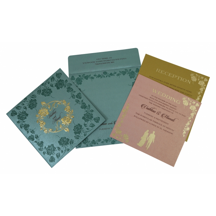 Blue Shimmery Floral Themed - Foil Stamped Wedding Invitation : AS-1794 - A2zWeddingCards