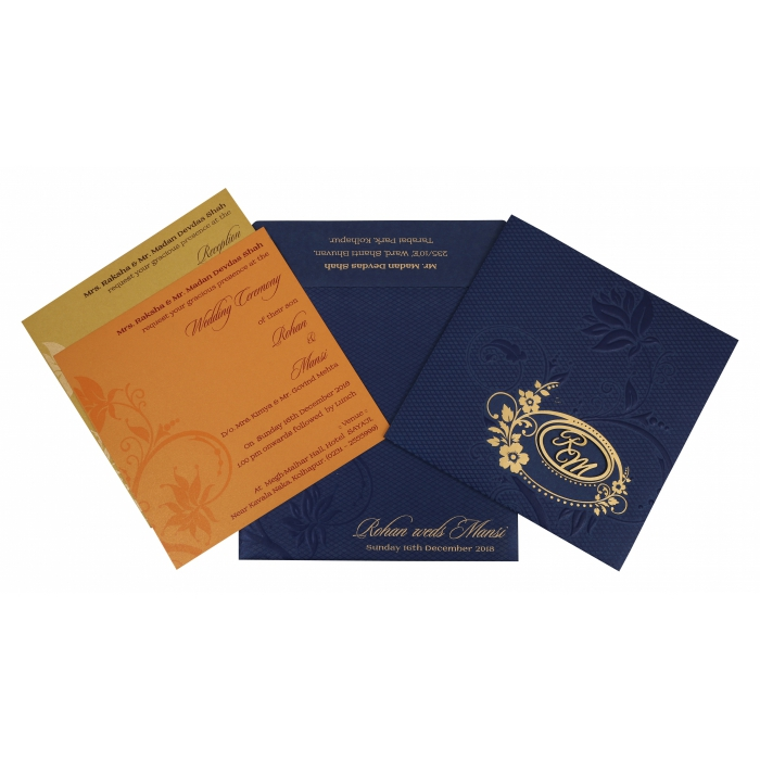 NAVY BLUE SHIMMERY FLORAL THEMED - FOIL STAMPED WEDDING INVITATION : AW-1774 - A2zWeddingCards