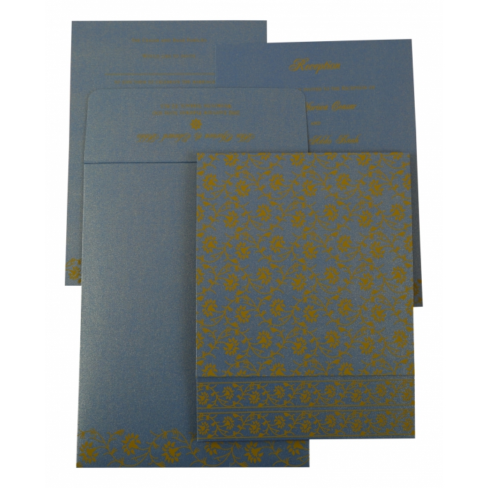 BLUE SHIMMERY FLORAL THEMED - SCREEN PRINTED WEDDING INVITATION : AW-822F - A2zWeddingCards