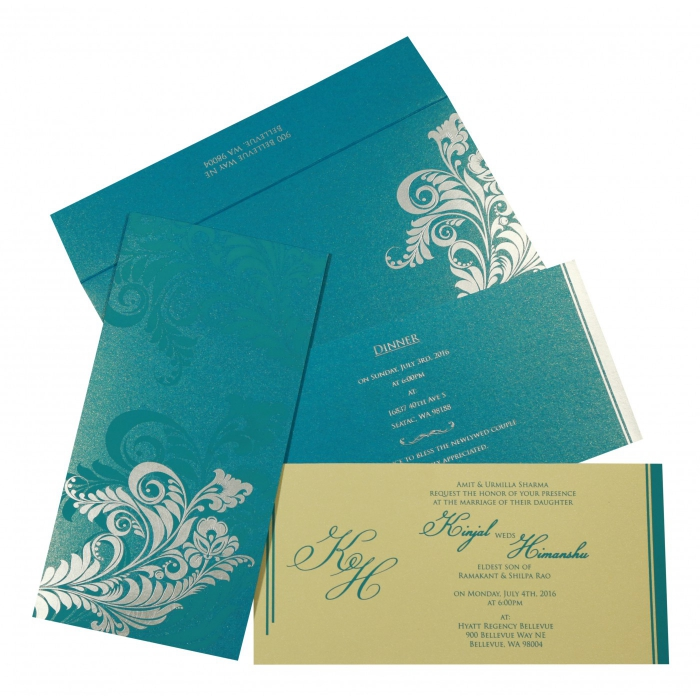 CYAN BLUE SHIMMERY FLORAL THEMED - SCREEN PRINTED WEDDING CARD : AG-8259B - A2zWeddingCards