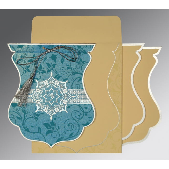 TURQUOISE SHIMMERY FLORAL THEMED - SCREEN PRINTED WEDDING CARD : AIN-8229M - A2zWeddingCards