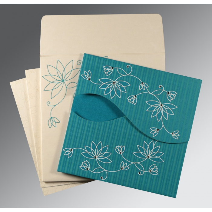 TURQUOISE SHIMMERY FLORAL THEMED - SCREEN PRINTED WEDDING INVITATION : AIN-8251G - A2zWeddingCards