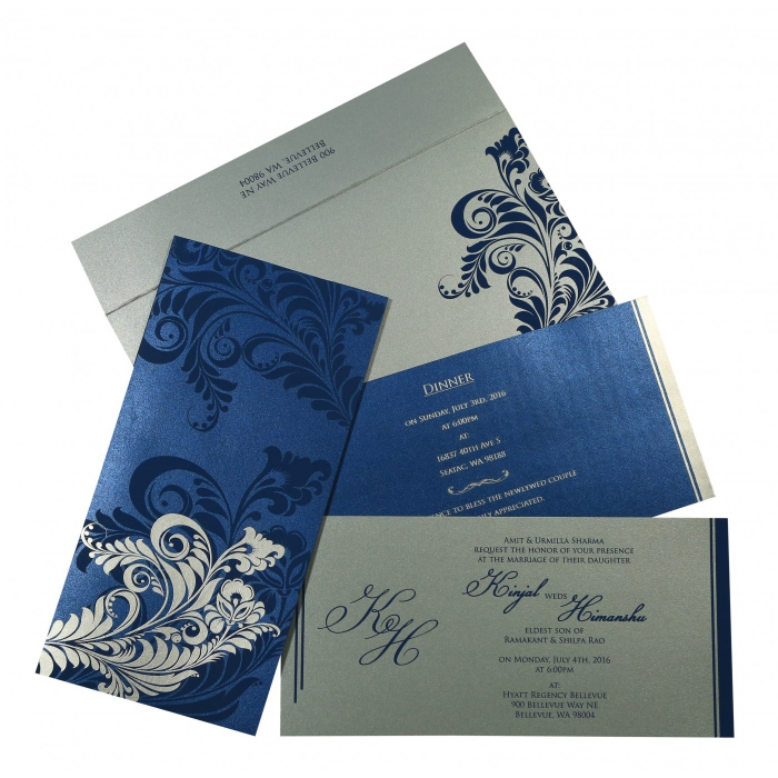 DARK BLUE SHIMMERY FLORAL THEMED - SCREEN PRINTED WEDDING CARD : AIN-8259E - A2zWeddingCards