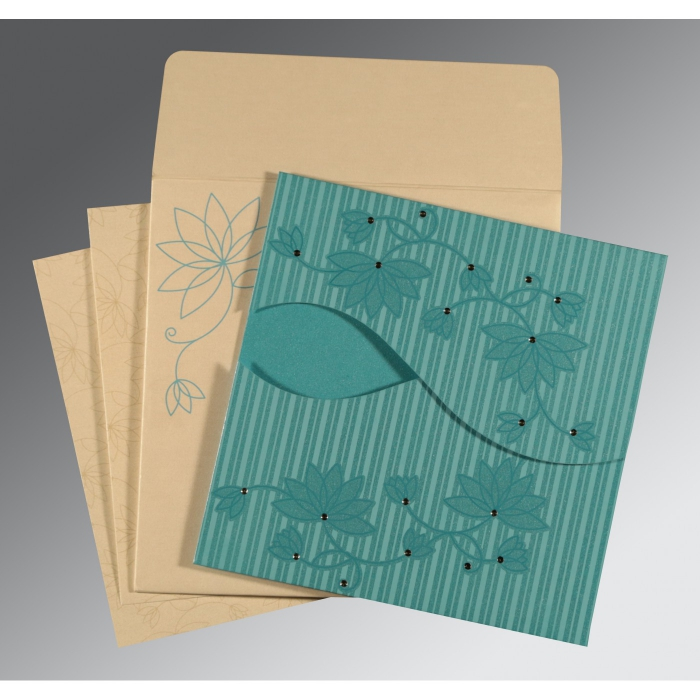 Blue Shimmery Floral Themed - Screen Printed Wedding Invitations : AW-8251A - A2zWeddingCards