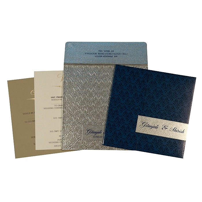 Blue Shimmery Paisley Themed - Screen Printed Wedding Card : AC-1702 - A2zWeddingCards