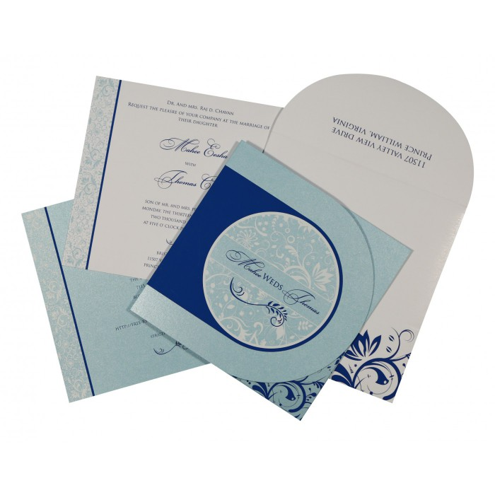 SKY BLUE SHIMMERY FLORAL THEMED - SCREEN PRINTED WEDDING CARD : AD-8264H - A2zWeddingCards