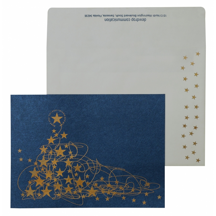 BLUE SHIMMERY SCREEN PRINTED HOLIDAY CARDS : AH-875 - A2zWeddingCards