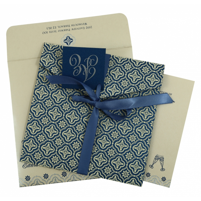 BLUE SHIMMERY SCREEN PRINTED WEDDING INVITATION : AI-805D - A2zWeddingCards