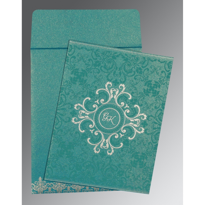TEAL BLUE SHIMMERY SCREEN PRINTED WEDDING CARD : AG-8244C - A2zWeddingCards