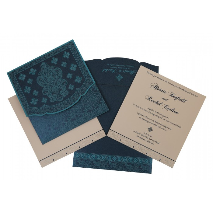 TEAL BLUE SHIMMERY SCREEN PRINTED WEDDING INVITATION : AI-800C - A2zWeddingCards