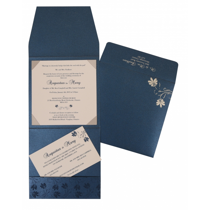 Blue Shimmery Screen Printed Wedding Invitation : AI-803D - A2zWeddingCards