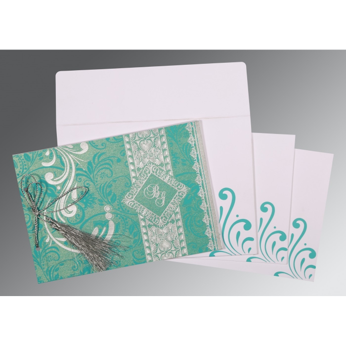 TURQUOISE SHIMMERY SCREEN PRINTED WEDDING CARD : AIN-8223H - A2zWeddingCards