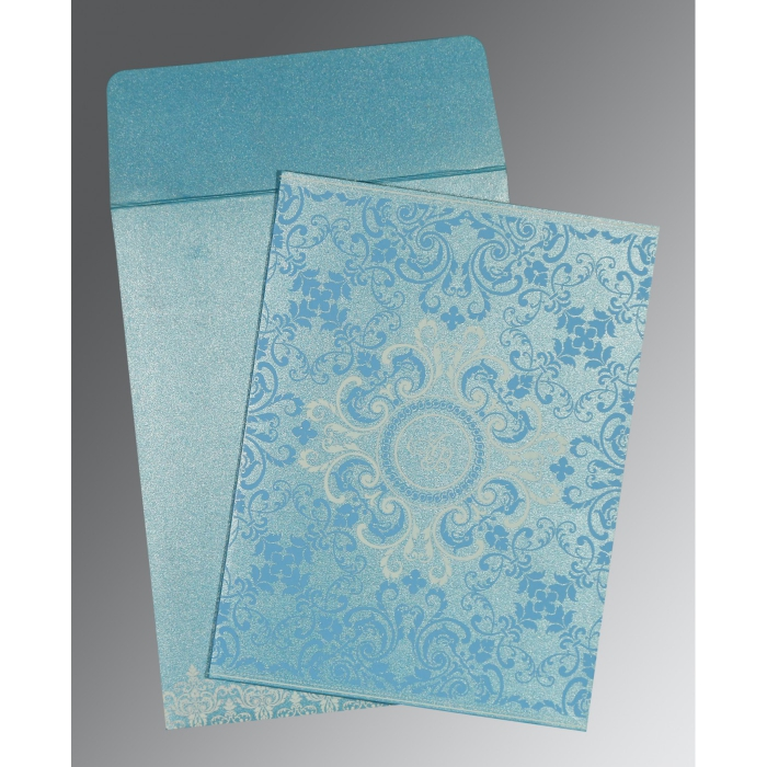 TURQUOISE SHIMMERY SCREEN PRINTED WEDDING CARD : AIN-8244F - A2zWeddingCards