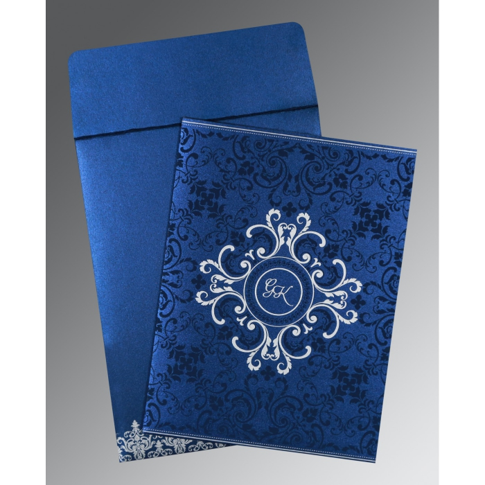 COBALT BLUE SHIMMERY SCREEN PRINTED WEDDING CARD : AW-8244K - A2zWeddingCards