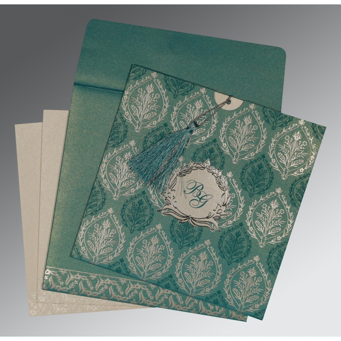 TEAL BLUE SHIMMERY UNIQUE THEMED - FOIL STAMPED WEDDING CARD : AC-8249D - A2zWeddingCards