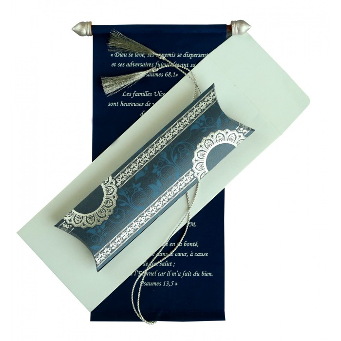 BLUE VELVET WEDDING CARD : ASC-5010A - A2zWeddingCards