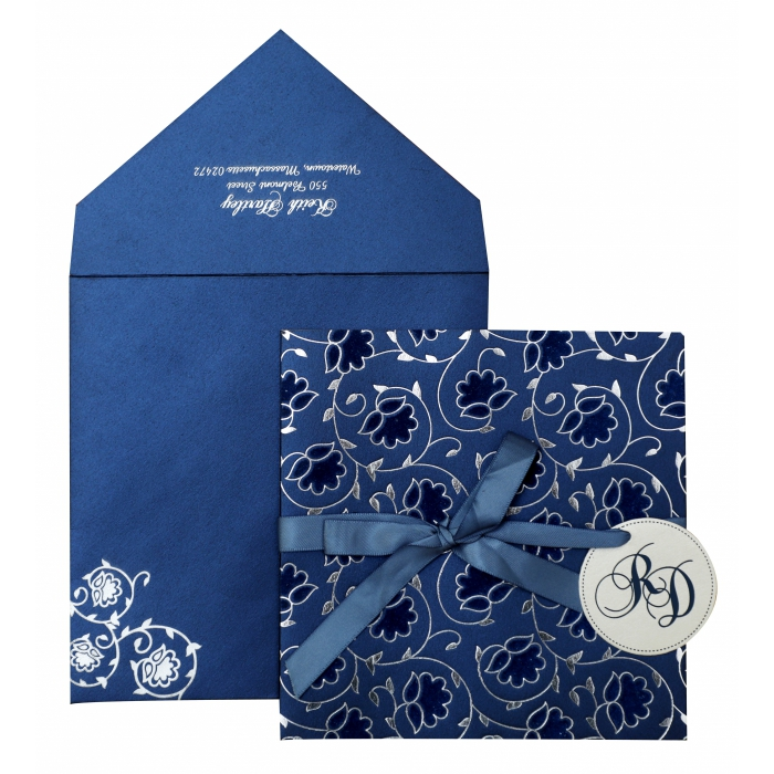 BLUE WHITE SHIMMERY FLORAL THEMED - FOIL STAMPED WEDDING INVITATION : AIN-839 - A2zWeddingCards