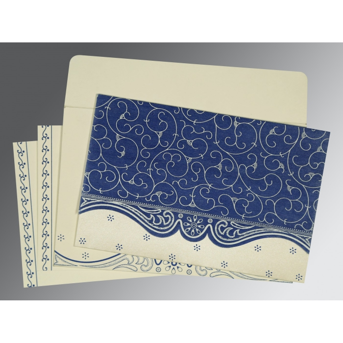 COBALT BLUE MATTE EMBOSSED WEDDING INVITATION : AW-8221C - A2zWeddingCards
