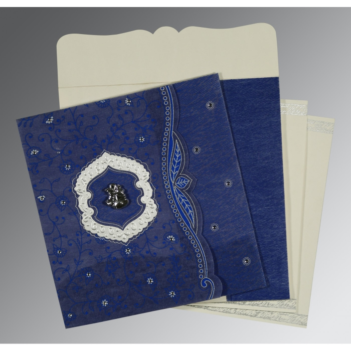 Blue Wooly Floral Themed - Embossed Wedding Card : AC-8209J - A2zWeddingCards