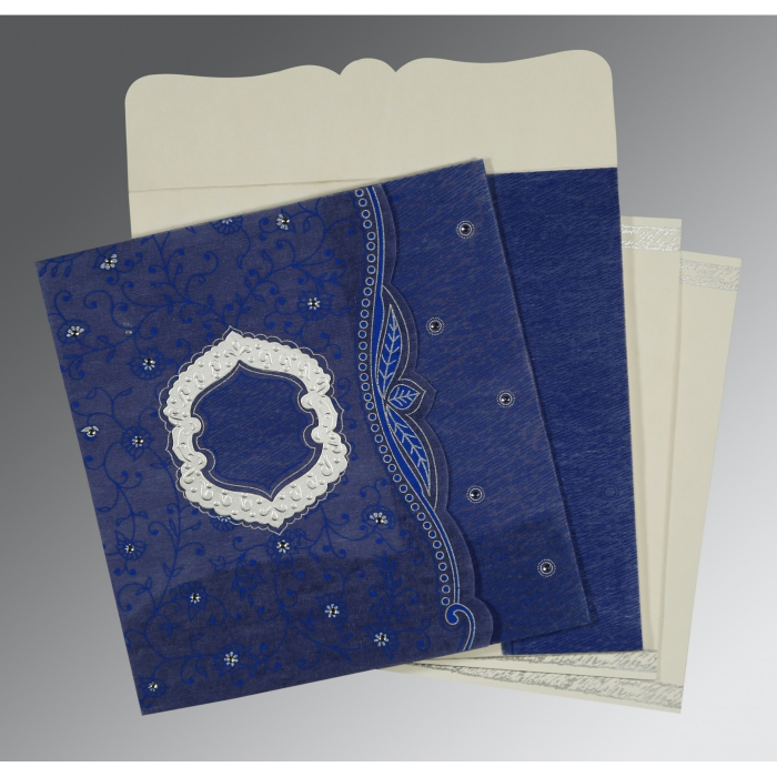 COBALT BLUE SHIMMERY FLORAL THEMED - EMBOSSED WEDDING CARD : AD-8209J - A2zWeddingCards