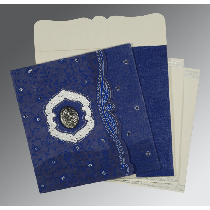 COBALT BLUE SHIMMERY FLORAL THEMED - EMBOSSED WEDDING CARD : AI-8209J - A2zWeddingCards
