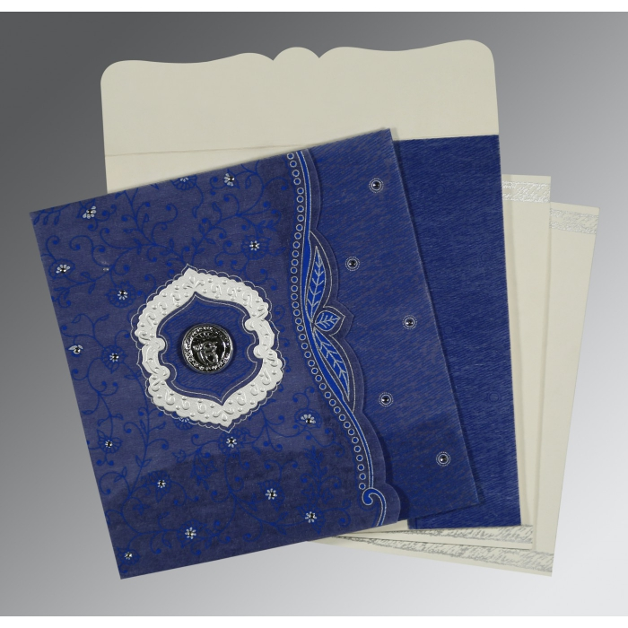 COBALT BLUE SHIMMERY FLORAL THEMED - EMBOSSED WEDDING CARD : AS-8209J - A2zWeddingCards