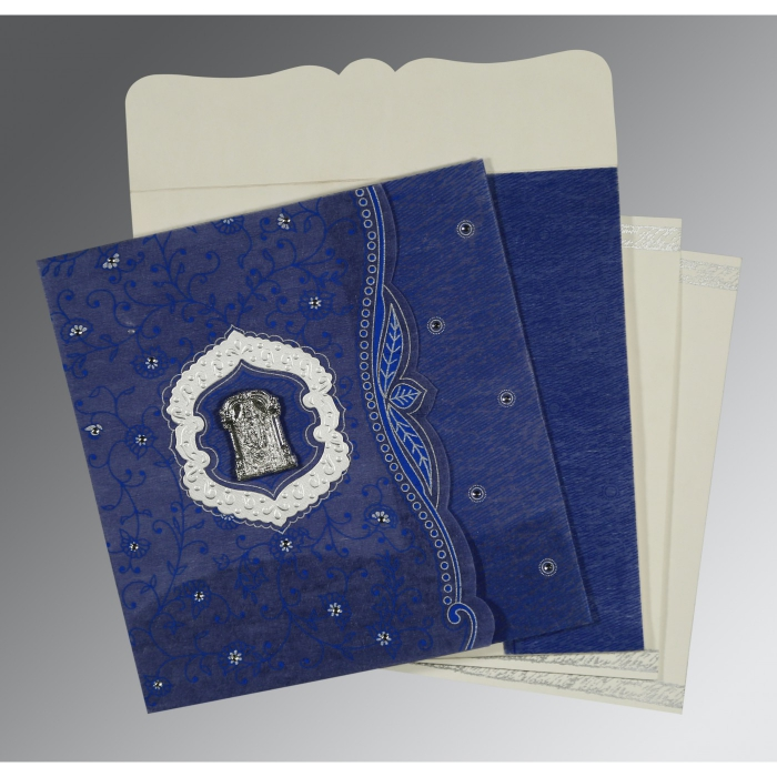 Blue Wooly Floral Themed - Embossed Wedding Card : ASO-8209J - A2zWeddingCards