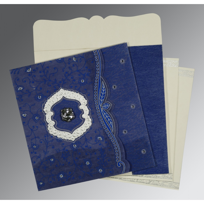 Blue Wooly Floral Themed - Embossed Wedding Card : AW-8209J - A2zWeddingCards